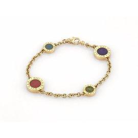 Bulgari 18K Yellow Gold Coral Lapis & Jade 4 Chain Bracelet