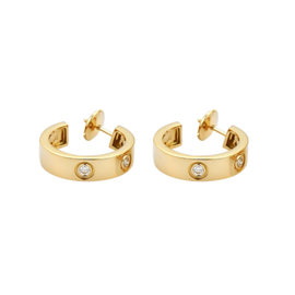 Cartier Love 18K Yellow Gold Diamonds Hoop Earrings