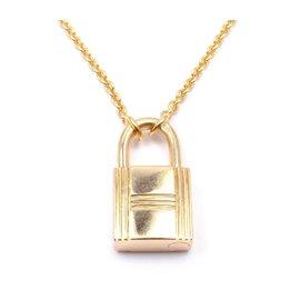 Hermes Paris 18k Yellow Gold Lock Chain Pendant Necklace