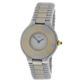 Cartier Must De 21 18K Gold & Stainless Steel Bullet Bracelet Quartz 28mm Womens Watch