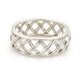 Tiffany & Co. 925 Sterling Silver Villa Paloma Wide Trellis Bangle