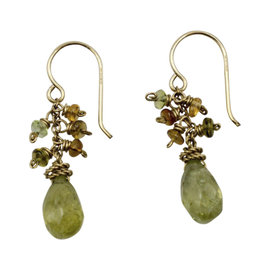 Laura Gibson 14K Yellow Gold Gemstone Cluster Drop Designer Earrings