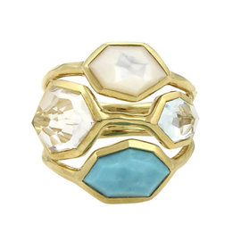 Ippolita 18K Yellow Gold Turquoise Mother Of Pearl & Quartz Ring Size 7