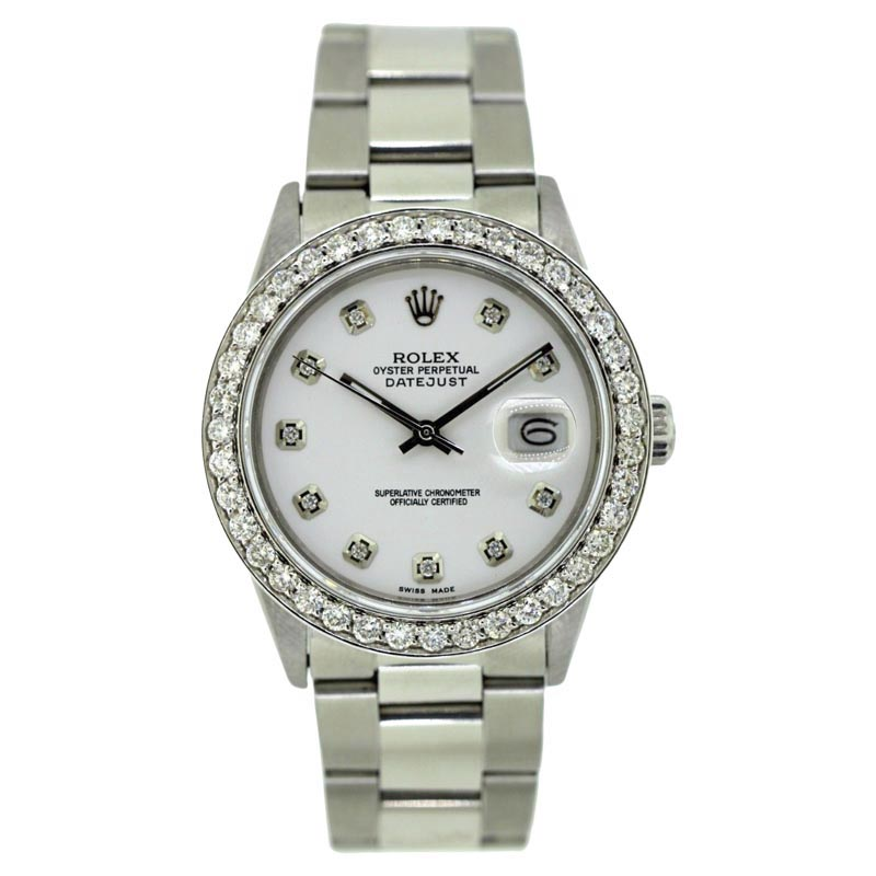 "Image of ""Rolex Datejust Stainless Steel 2.5ct Diamond With White Dial Automatic"""