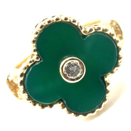 Van Cleef & Arpels Alhambra 18K Yellow Gold Green Chalcedony Diamond Ring Size 5