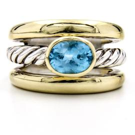David Yurman Cable Classics Sterling Silver and 18K Yellow Gold Blue Topaz Ring Size 7