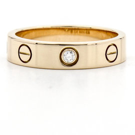 Cartier 18K Rose Gold Diamond Love Ring Band Size 5.25