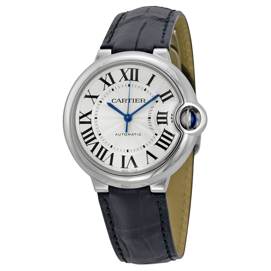 Cartier Ballon Bleu W69017Z4 Leather Strap Automatic 36mm Womens Watch