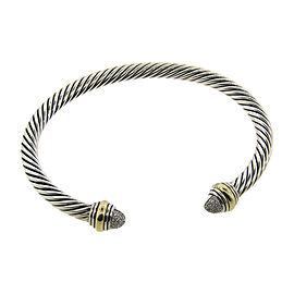 David Yurman 14K Yellow Gold & 925 Sterling Silver Diamond Pave Cable Bangle Bracelet