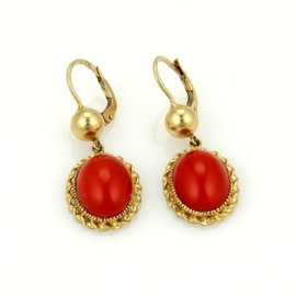 18K Yellow Gold Vintage Blood Coral Oval Drop Dangle Earrings