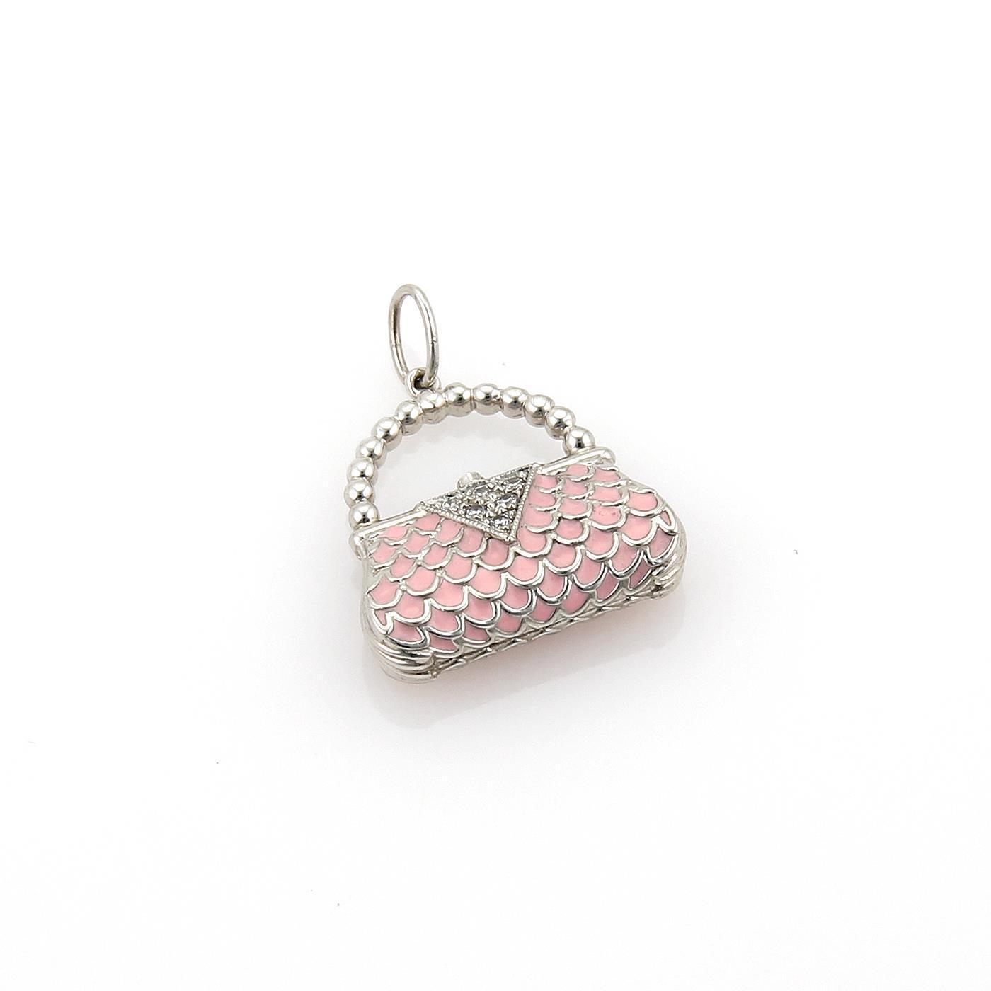 "Image of ""Tiffany & Co. Platinum Diamonds & Enamel Classic Clutch Purse Charm"""