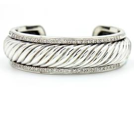David Yurman 925 Sterling Silver Diamonds Sculpted Cable Cuff Bracelet