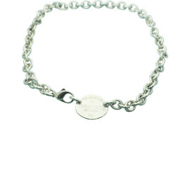 Tiffany & Co. 925 Sterling Silver Return To Tiffany Oval Tag Choker Necklace