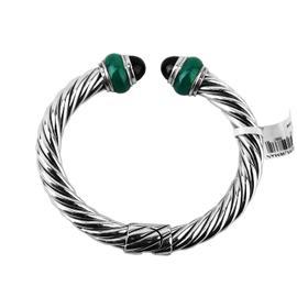 David Yurman 925 Sterling Silver Green Black Onyx Cable Classic Rondelle Bracelet