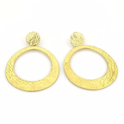 "Image of ""Ippolita 18K Yellow Gold Glamazon Hammered Oval Dangle Earrings"""