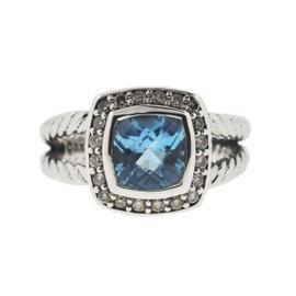 David Yurman Sterling Silver Blue Topaz 0.17 cts Diamonds Petite Albion Ring Size 5.0