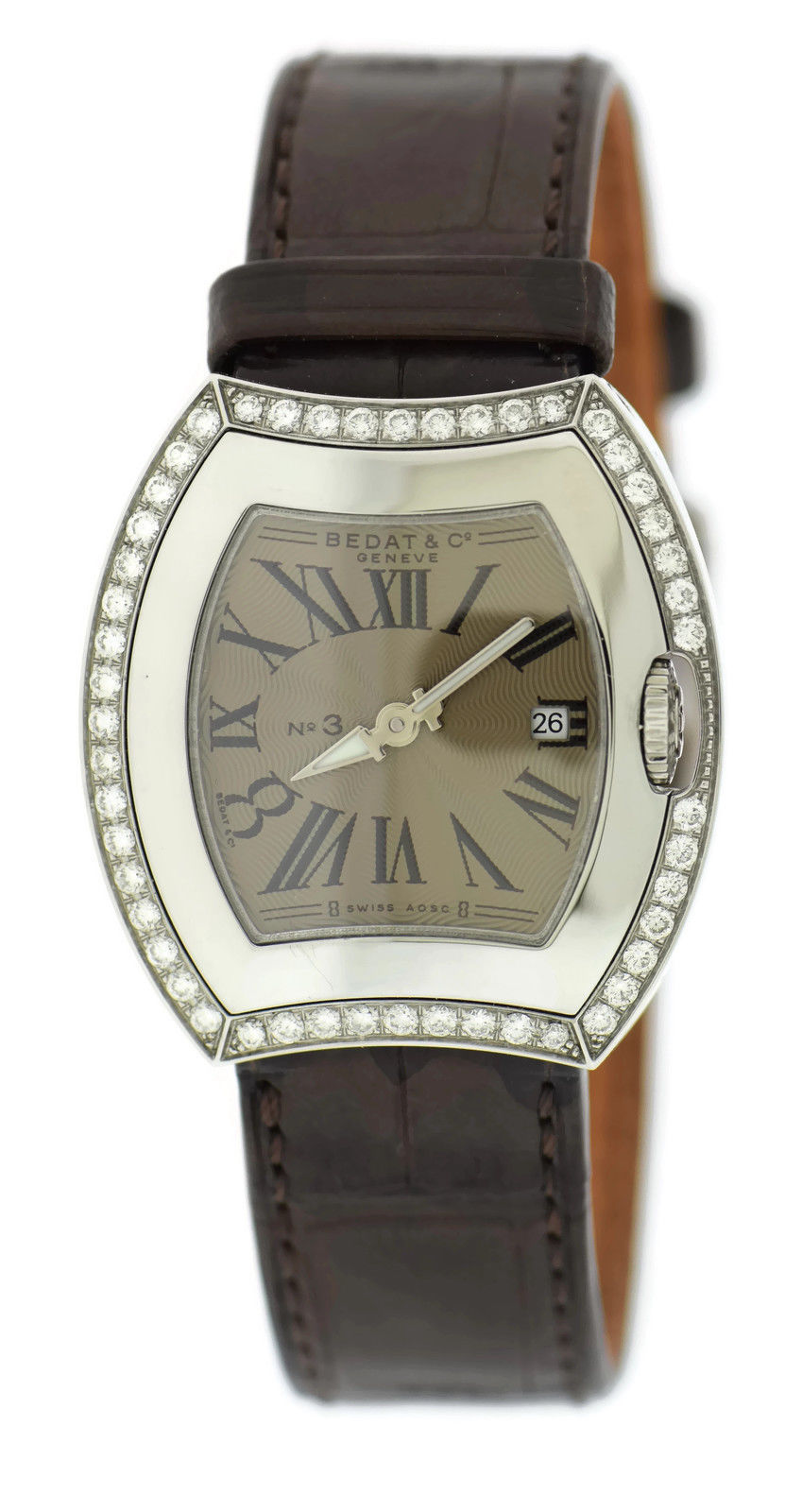 "Image of ""Bedat & Co. 334.040.101 No.3 Stainless Steel & Leather Diamond Quartz"""