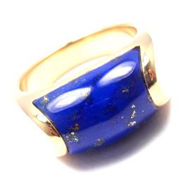 Bulgari 18K Yellow Gold Lapis Lazuli Band Ring Size 6