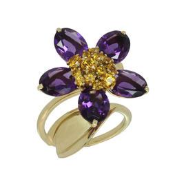 Van Cleef & Arpels 18K Yellow Gold Hawaii Amethyst Orange Sapphire Ring Size 7