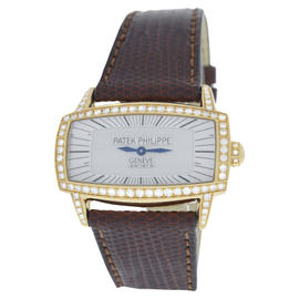 Patek Philippe Gondolo 4981R Diamond 18K Yellow Gold Mother Of Pearl Quartz 37mm Womens Watch