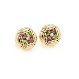Bulgari 18K Yellow Gold Diamond Amethyst & Peridot Round Stud Earrings