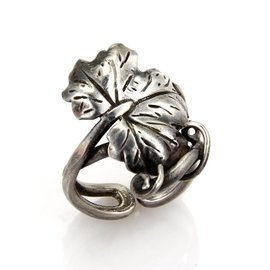 Buccellati Sterling Silver Oak Leaf & Vine Ring Size 7