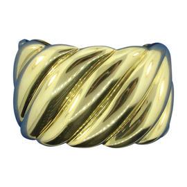 David Yurman 18K Yellow Gold Sculpted Cable Bangle Cuff Bracelet