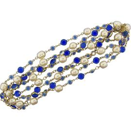Chanel Pearl Bead and Blue Gripoix Glass Strand Necklace Chain