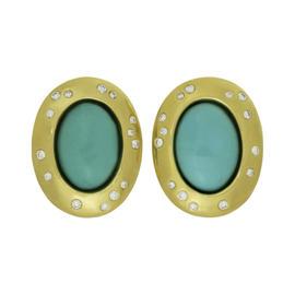Tiffany & Co. Angela Cummings 18K Yellow Gold Diamond Turquoise Clip-on Earrings
