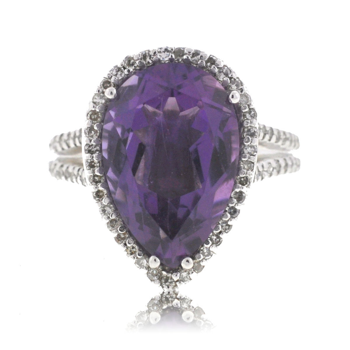"Image of ""Effy 14K White Gold Pear Shape Amethyst Diamonds Ring Size 6.0"""