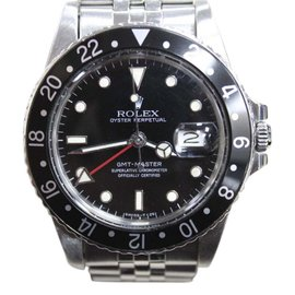 Rolex GMT Master 16750 Stainless Steel Rare Black Spider Web Dial 40mm Mens Watch