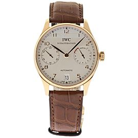 IWC Portuguese IW500113 18K Rose Gold & Leather Automatic 42mm Mens Watch