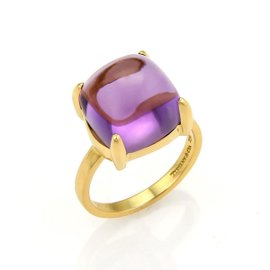 Tiffany & Co. Picasso 18K Yellow Gold with Amethyst Ring Size 5.5