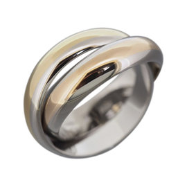 Cartier 18K Yellow Gold & Stainless Steel Bands Rolling Ring Size 6
