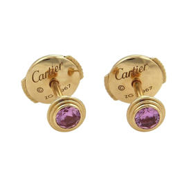 Cartier 18K Rose Gold and 0.20ct Pink Sapphire Stud Earrings