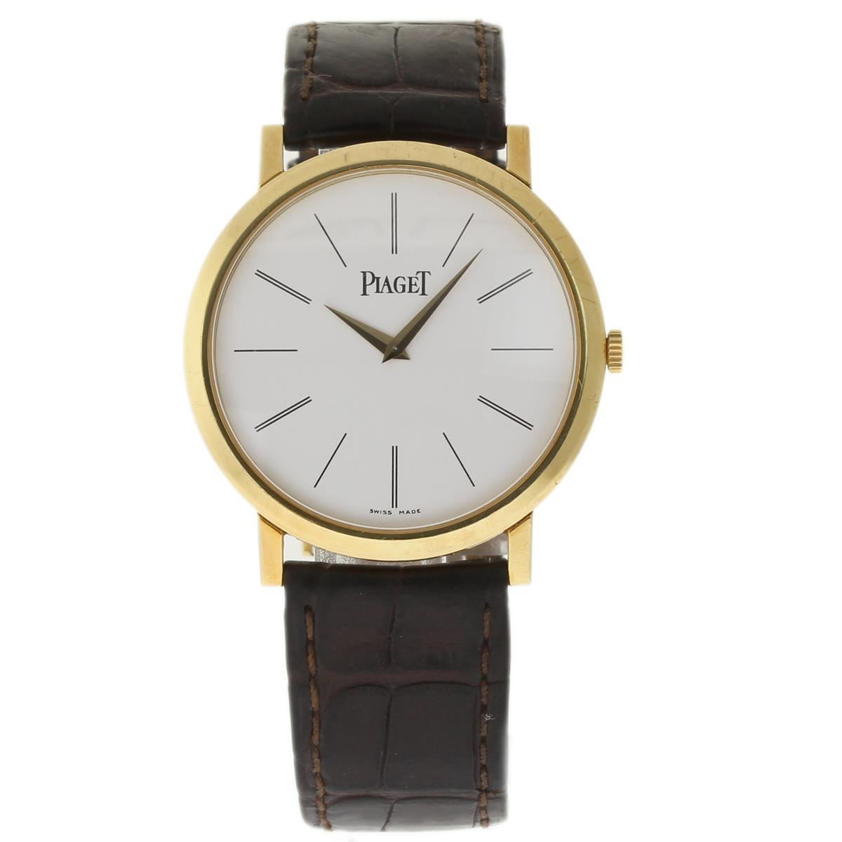 "Image of ""Piaget Altiplano P10175 18K Yellow Gold / Leather 40mm Mens Watch"""