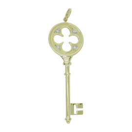 Tiffany & Co. 18K Yellow Gold & Diamonds Key Clover Pendant Necklace