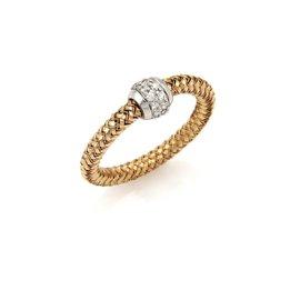 Roberto Coin Primavera 18K Rose & White Gold Diamond Band Ring Size 6.25