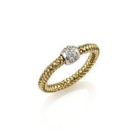 Roberto Coin Primavera 18K Yellow & White Gold Diamond Band Ring Size 6.75