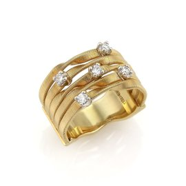Marco Bicego Marrakech 18K Yellow Gold & Diamond 5 Row Band Ring Size 7
