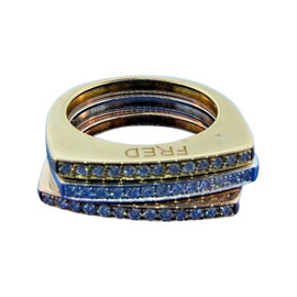 Fred of Paris 18K Yellow, White & Rose Gold & 0.39ct. Diamond Set of Three Rings Size 5.5