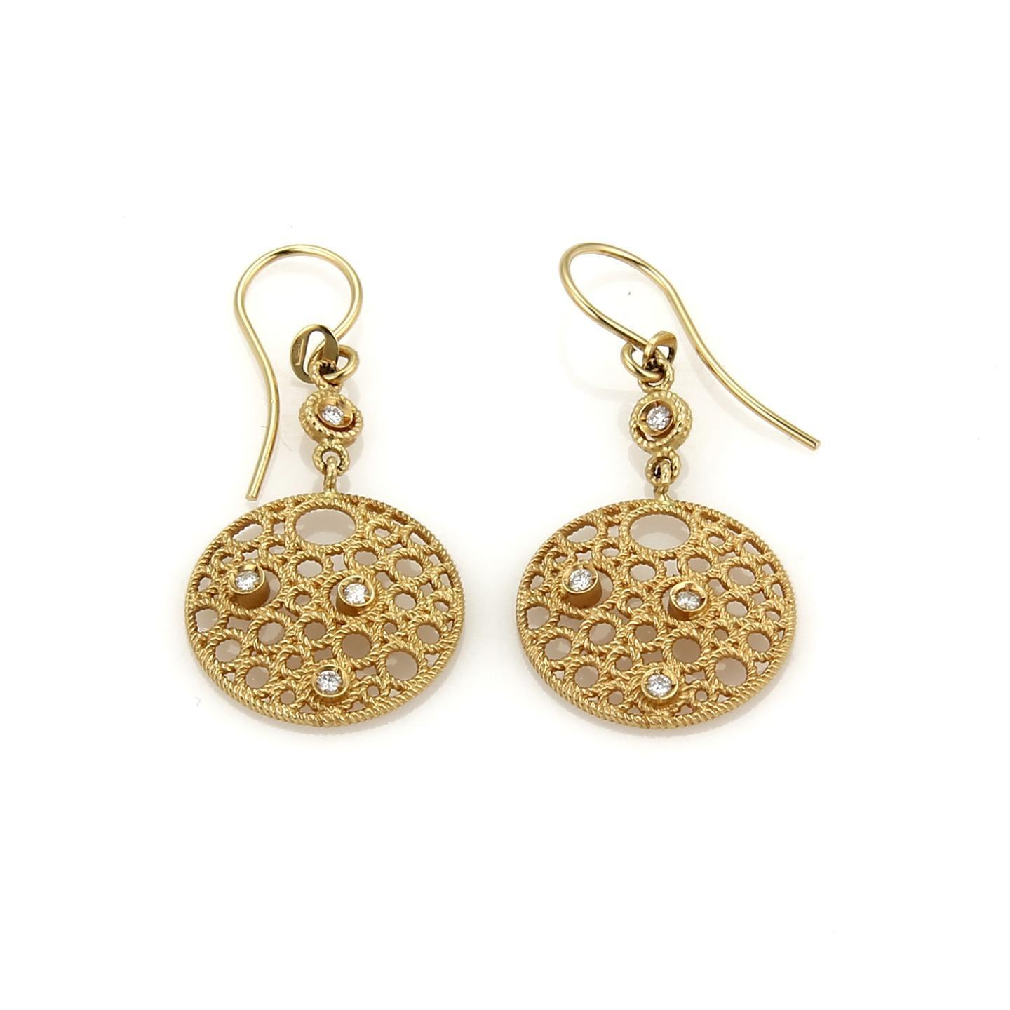 "Image of ""Roberto Coin Moresque 18K Yellow Gold wDiamond Dangle Hook Earrings"""