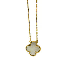 Van Cleef & Arpels 18K Yellow Gold Mother Of Pearl Alhambra Pendant Necklace