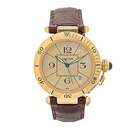 Cartier Pasha 1020 18K Yellow Gold / Leather with Beige Dial 29mm Mens Watch