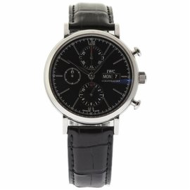 IWC Portofino IW391008 Stainless Steel & Leather Black Dial Automatic 42mm Mens Watch