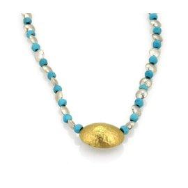 Gurhan Jordan Hue 24K Layered Gold & Sterling Silver Turquoise Bead Sterling Necklace