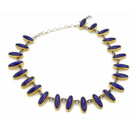 Gurhan Parliment Sterling & 24K Yellow Layered Gold Lapis Necklace