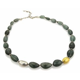 Gurhan Sterling & 24K Layered Yellow Gold 322ct Aquamarine Long Beaded Necklace