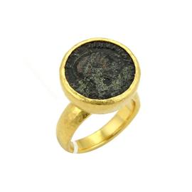 Gurhan 24K Yellow Gold Ancient Coin High Flat Top Dome Shank Ring Size 6.5