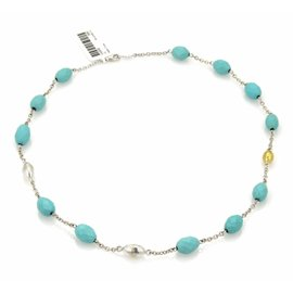 Gurhan Sterling & 24K Layered Yellow Gold Galapagos Turquoise Beaded Necklace